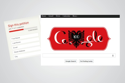 Google doodle for Albania's centenary of independence