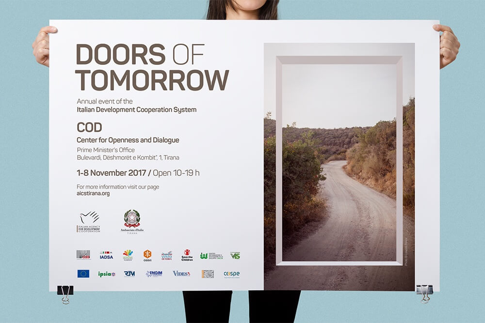 AICS Tirana Doors of Tomorrow poster